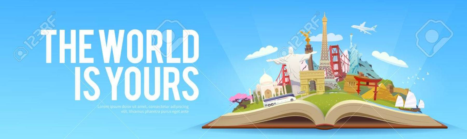 74112363 travel to world road trip tourism open book with landmarks travelling vector banner the world is you